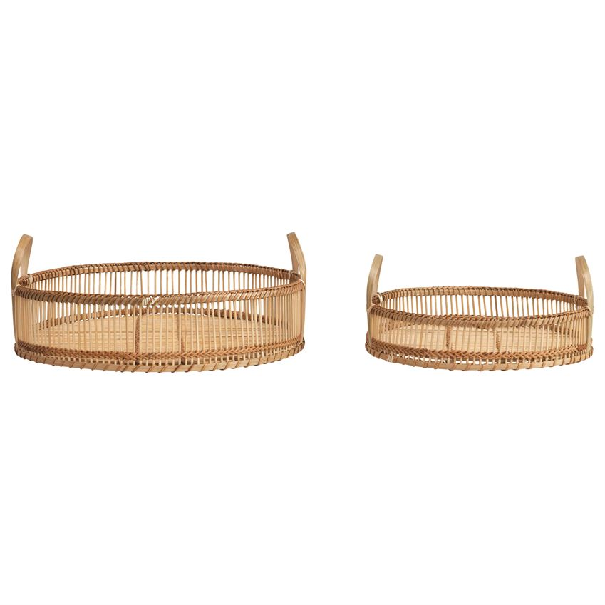 ROUND DECORATIVE BAMBOO TRAYS WITH HANDLES - 2 SIZES