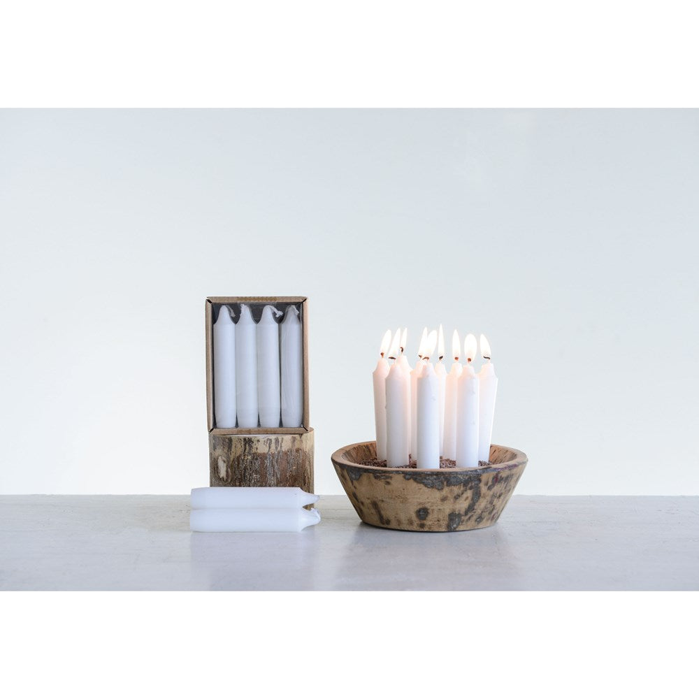 UNSCENTED SHORT TAPER CANDLES IN BOX, SET OF 12