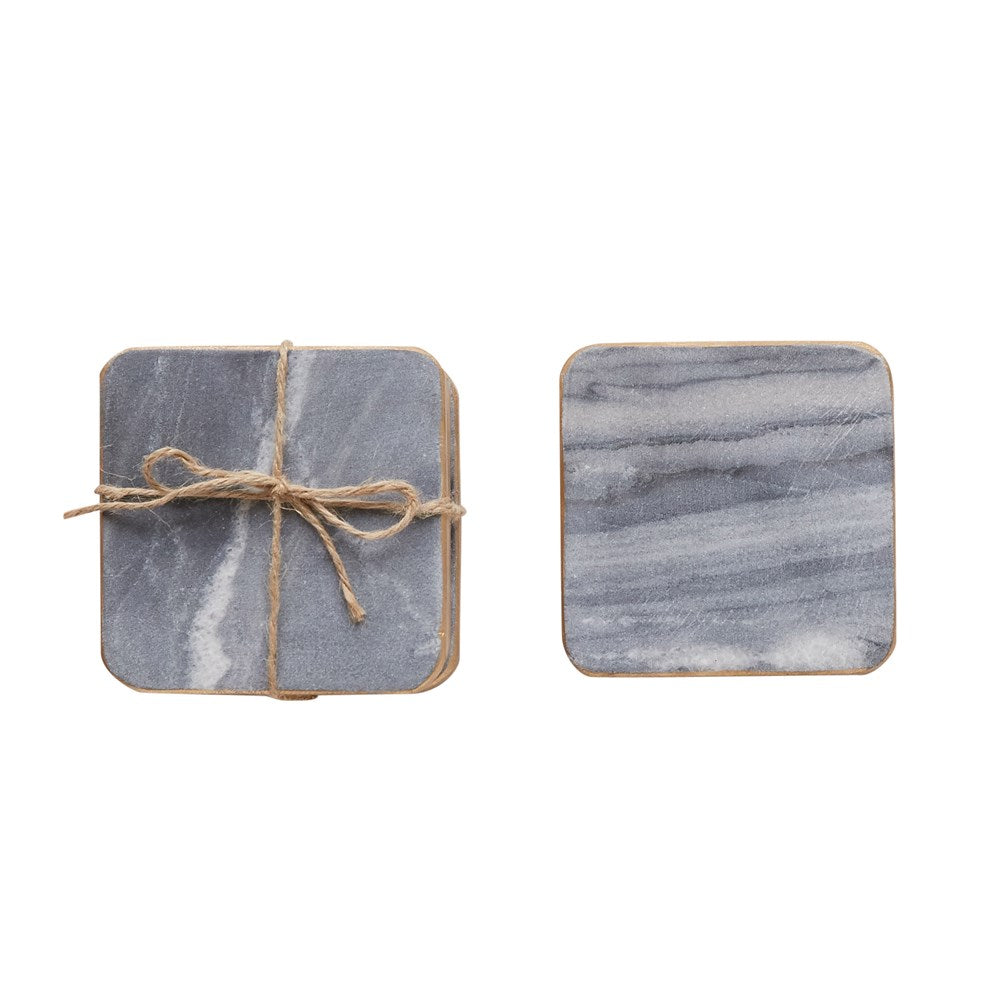 "4"" SQUARE MARBLE COASTERS, GREY WITH GOLD EDGE"