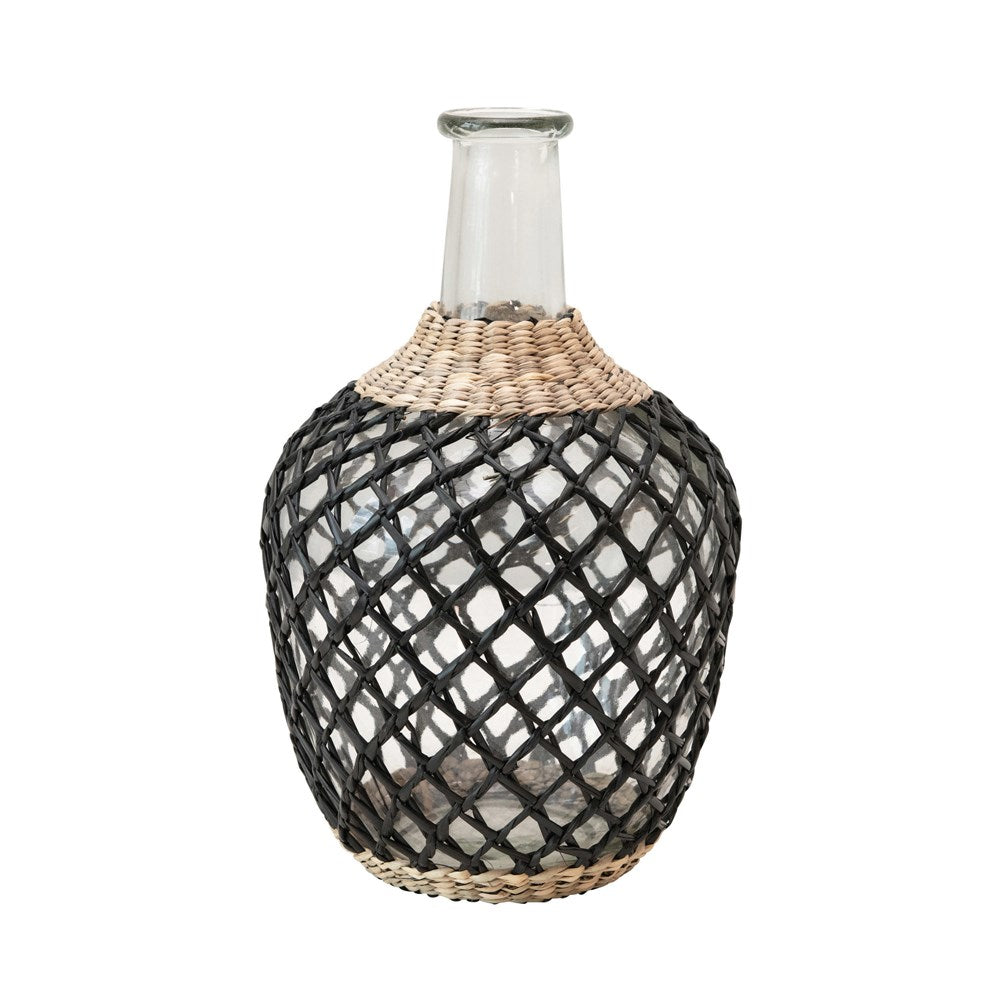 GLASS DECANTER WITH SEAGRASS WEAVE, NATURAL & BLACK
