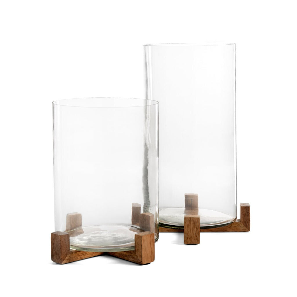 HURRICANE GLASS WITH WOOD BASE - 2 SIZES -IN STORE PICK UP ONLY!