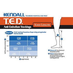 TED Regular Knee Medical Compression Stocking White Large