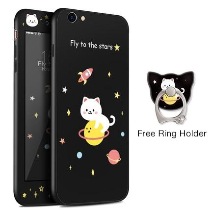 Flying Cat Black iPhone Case