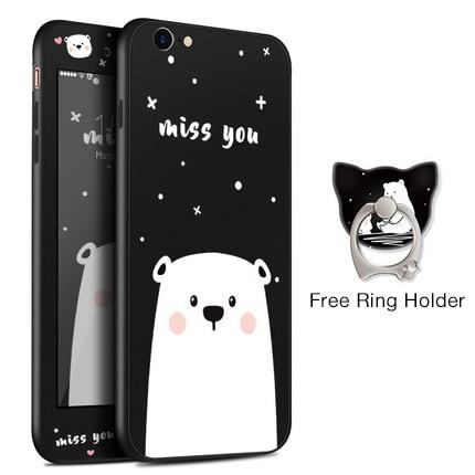 Miss You Bear Black iPhone Case
