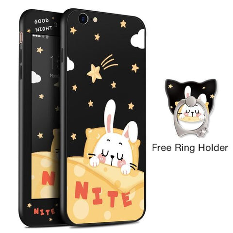 Nite Rabbit Black iPhone Case