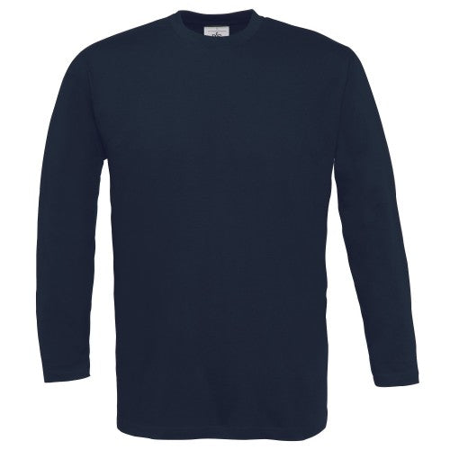 Front - B&C Mens Exact 150 LSL Crew Neck Long Sleeve T-Shirt