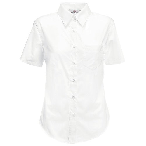 Front - Fruit Of The Loom Ladies Lady-Fit Short Sleeve Poplin Shirt