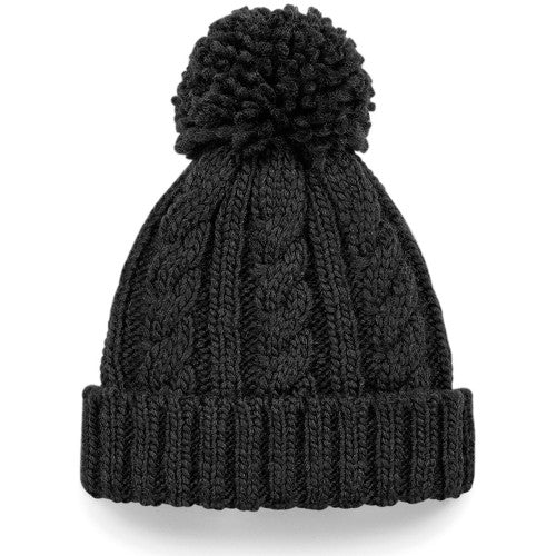 Front - Beechfield Unisex Junior Cable Knit Melange Beanie