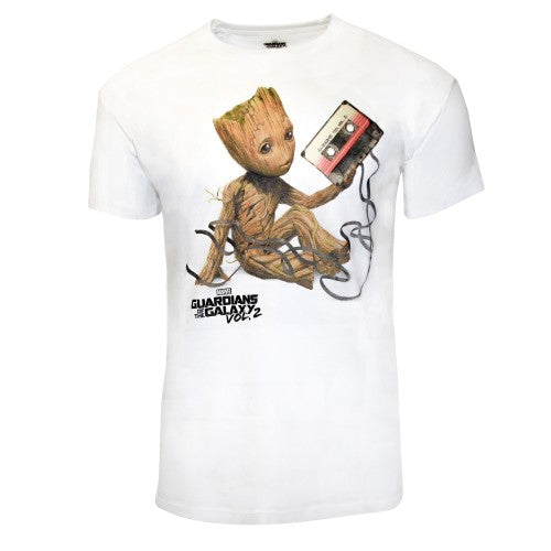 Front - Guardians Of The Galaxy Vol 2 Unisex Adults Groot And Tape T-Shirt