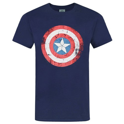 Front - Captain America Unisex Adults Distressed Shield Design T-Shirt