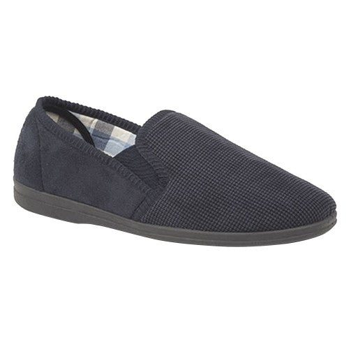 Front - Sleepers Mens Harry Memory Foam Twin Gusset Slippers