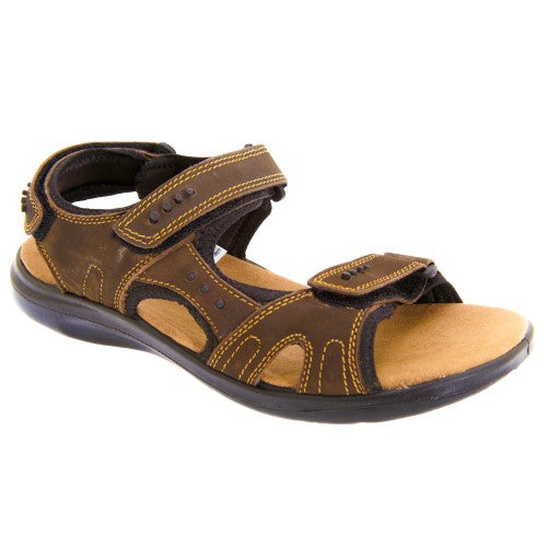 Front - Roamers Mens 3 Touch Fastening Padded Sports Sandals