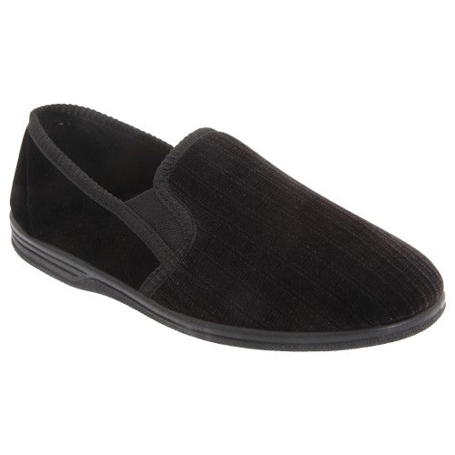 Front - Zedzzz Mens Richard Striped Twin Gusset Velour Slippers