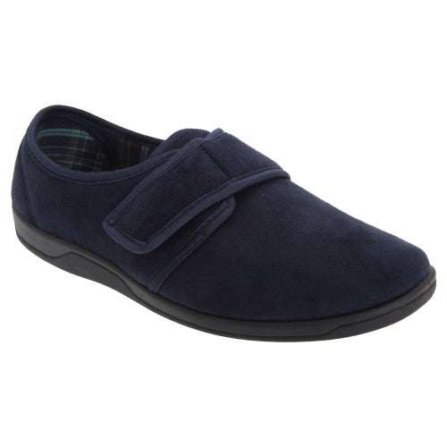 Front - Sleepers Mens Tom Imitation Suede Touch Fastening Slippers