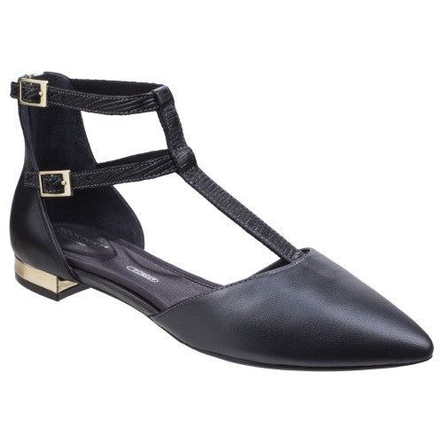 Front - Rockport Womens/Ladies Adelyn Leather T Strap Shoes