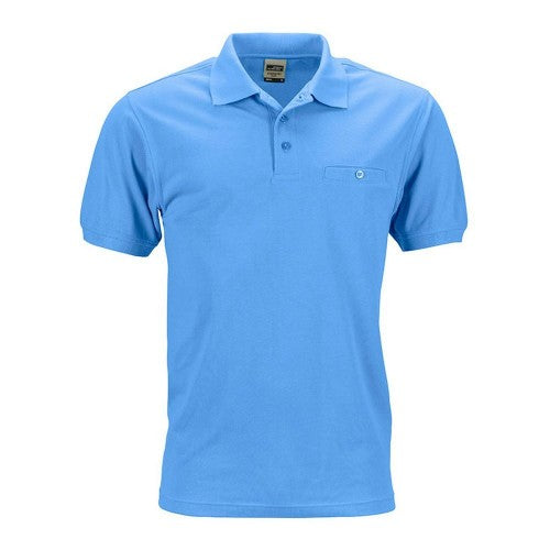 Front - James and Nicholson Mens Workwear Polo Pocket Shirt