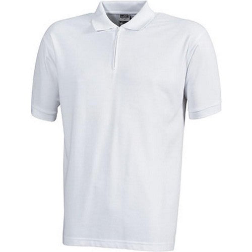 Front - James and Nicholson Mens Pique Zip Polo