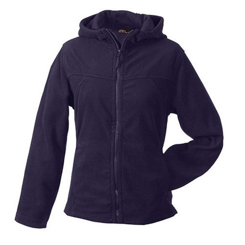 Front - James and Nicholson Womens/Ladies Microfleece Hooded Jacket