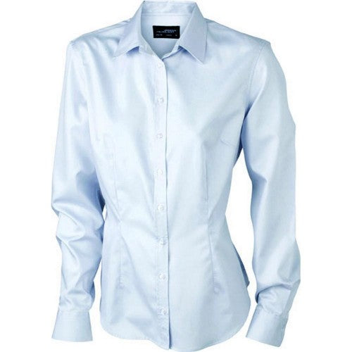 Front - James and Nicholson Womens/Ladies Long-Sleeved Blouse