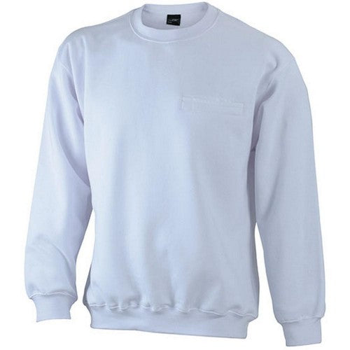 Front - James and Nicholson Mens Round Pocket Sweatshirt