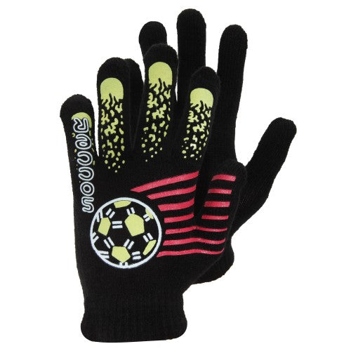 Front - Boys Black Winter Magic Gloves With Rubber Print
