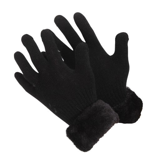 Front - Childrens/Girls Faux Fur Cuff Knitted Winter Gloves