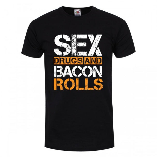 Front - Grindstore Mens Sex Drugs and Bacon Rolls T Shirt