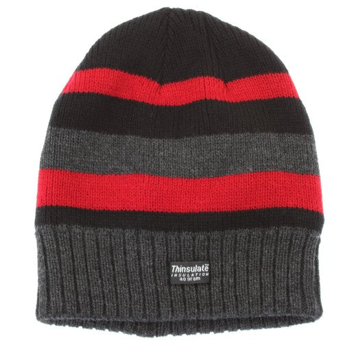 Front - FLOSO Mens Striped Thermal Thinsulate Winter Hat (3M 40g)