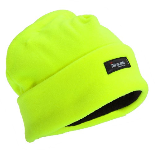 Front - FLOSO Mens Hi Vis Thinsulate Thermal Fleece Winter Beanie Hat (3M 40g)