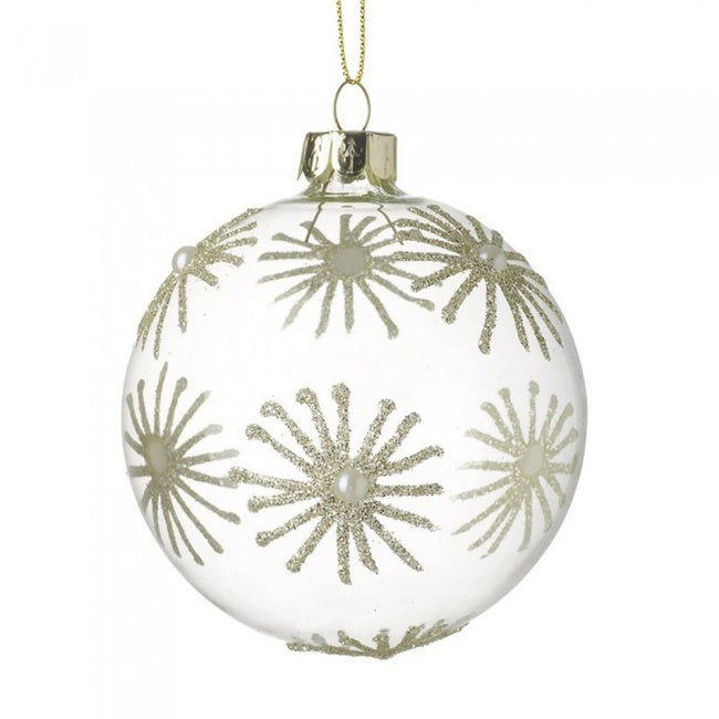Front - Glass Snowflake Design Ball Bauble