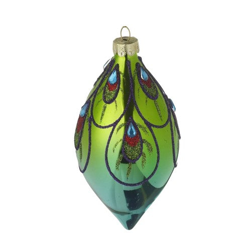 Front - Colourful Glittery Peacock Glass Finial Bauble