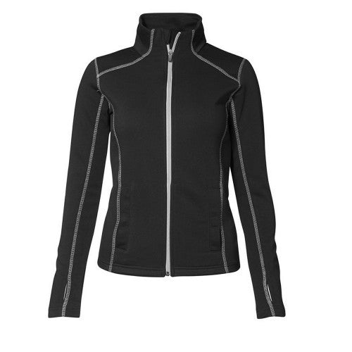 Front - ID Womens/Ladies Contrast Full Zip Fitted Long Sleeve Sweatshirt