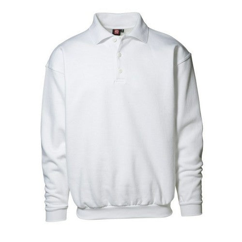 Front - ID Mens Classic Loose Fitting Polo Neck Sweatshirt/Jumper