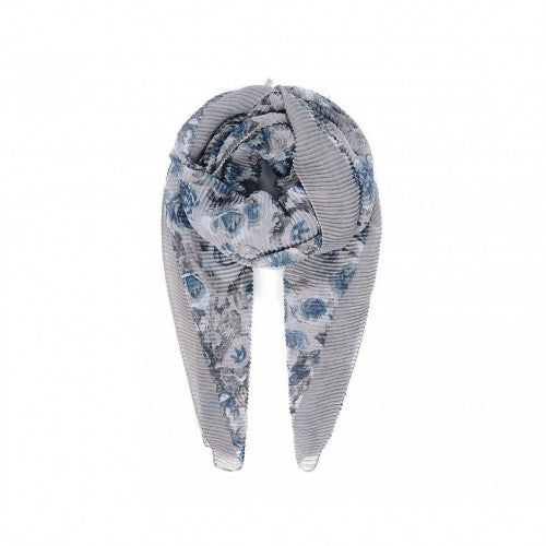 Front - Intrigue Womens/Ladies Rose Border Print Pleated Scarf