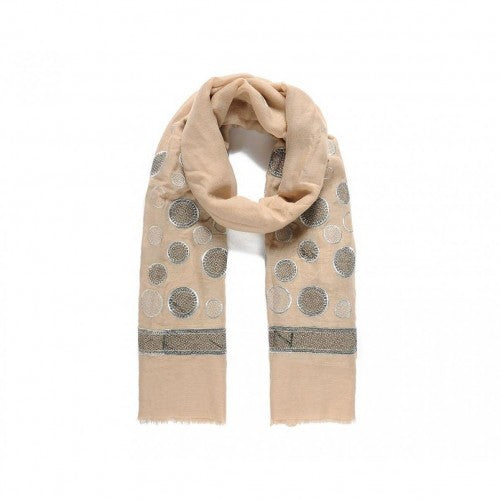 Front - Intrigue Womens/Ladies Detailed Circle Embroidered Scarf