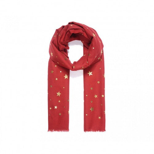 Front - Intrigue Womens/Ladies Metallic Gold Star Print Scarf