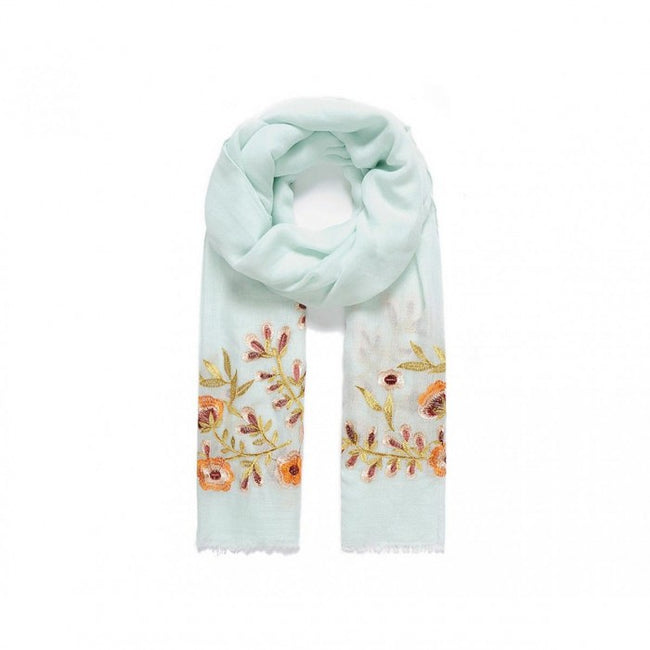 Front - Intrigue Womens/Ladies Pansy Embroidered Scarf