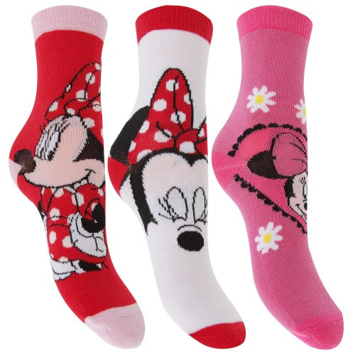 Front - Disney Minnie Mouse Childrens Girls Official Patterned Socks (Pack Of 3)