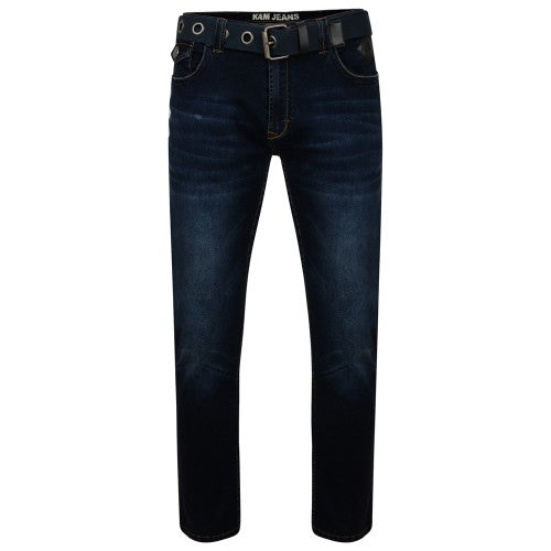 Front - Kam Jeanswear Mens Garcia Belted Low Waist Stretch Jeans