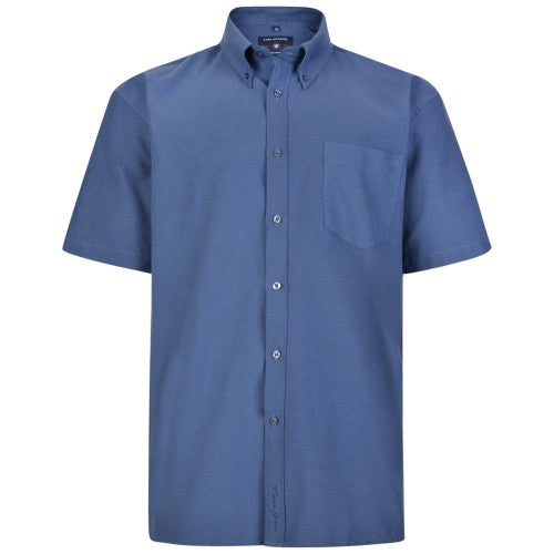 Front - Kam Jeanswear Mens Short Sleeve Oxford Shirt