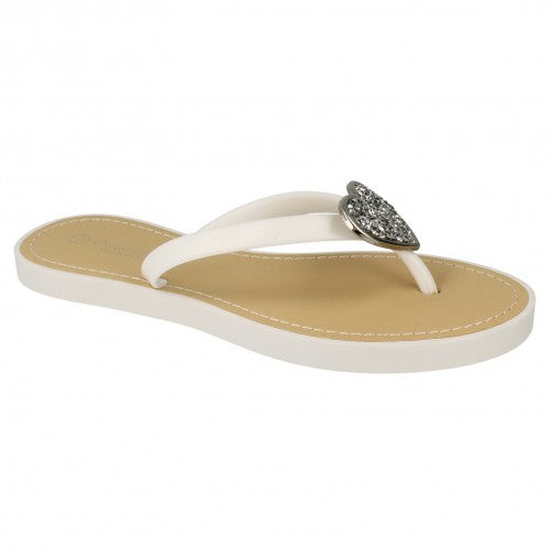 Front - Savannah Womens/Ladies Open Toe Sparkling Heart Flip Flops