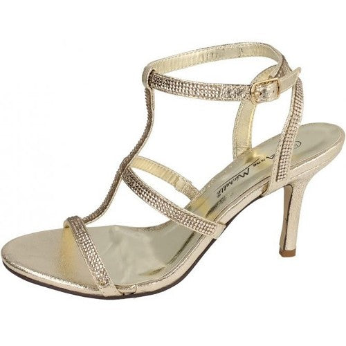 Front - Anne Michelle Womens/Ladies Diamante H Bar Evening Sandals