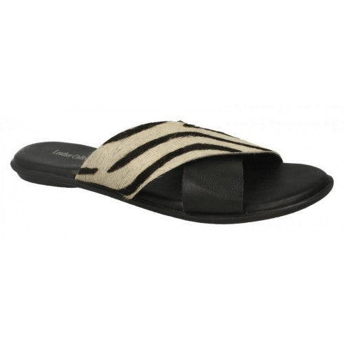 Front - Leather Collection Womens/Ladies X Strap Vamp Sandals