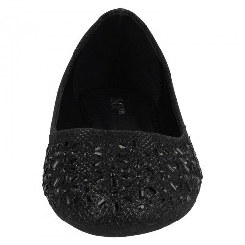 Front - Spot On Womens/Ladies Jewelled Ballerinas
