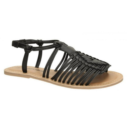 Front - Leather Collection Womens/Ladies Leather Flat Strappy Sandals