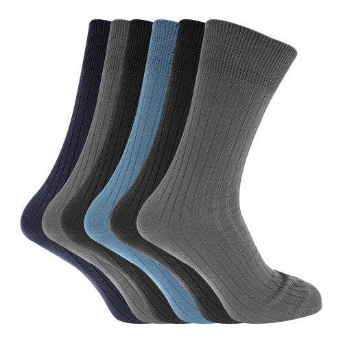Front - Mens 100% Cotton Ribbed Classic Socks (Pack Of 6)