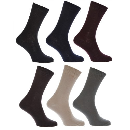 Front - Mens 100% Cotton Plain Work/Casual Socks (Pack Of 6)
