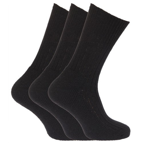 Front - Mens Wool Blend Non Elastic Top Light Hold Socks (Pack Of 3)