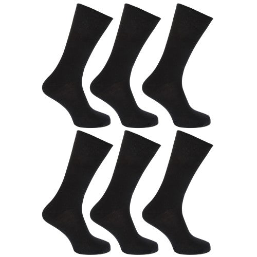 Front - FLOSO Mens Plain 100% Cotton Socks (Pack Of 6)