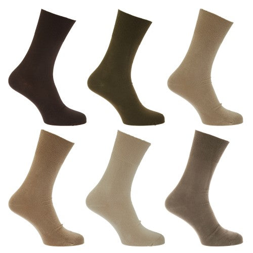 Front - Mens Stay Up Non Elastic Diabetic Socks (Pack Of 6)